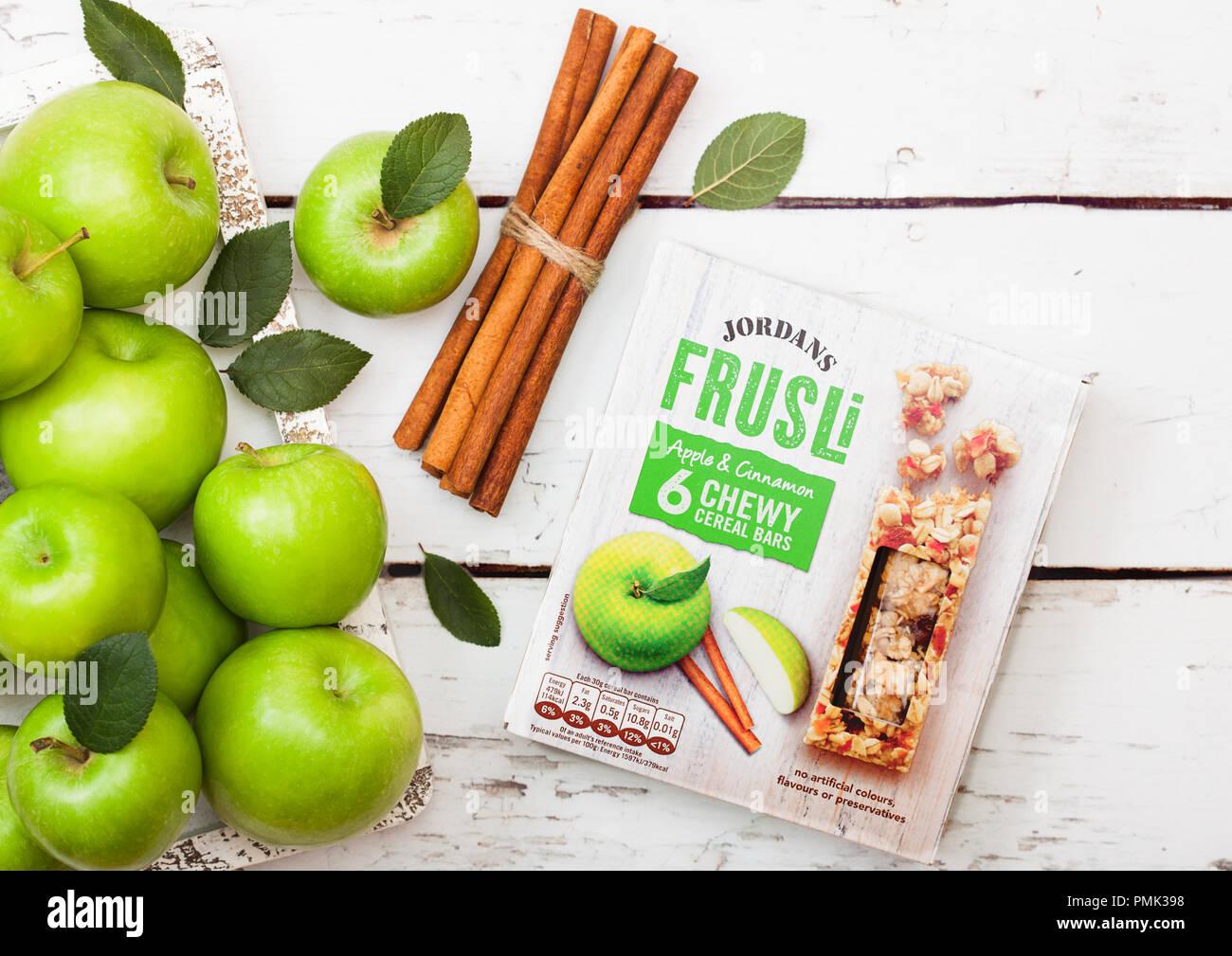 c54a532f7f2 LONDON, UK - SEPTEMBER 15, 2018: Box of Jordans Frusli with apple and  cinnamon taste with fresh apples.
