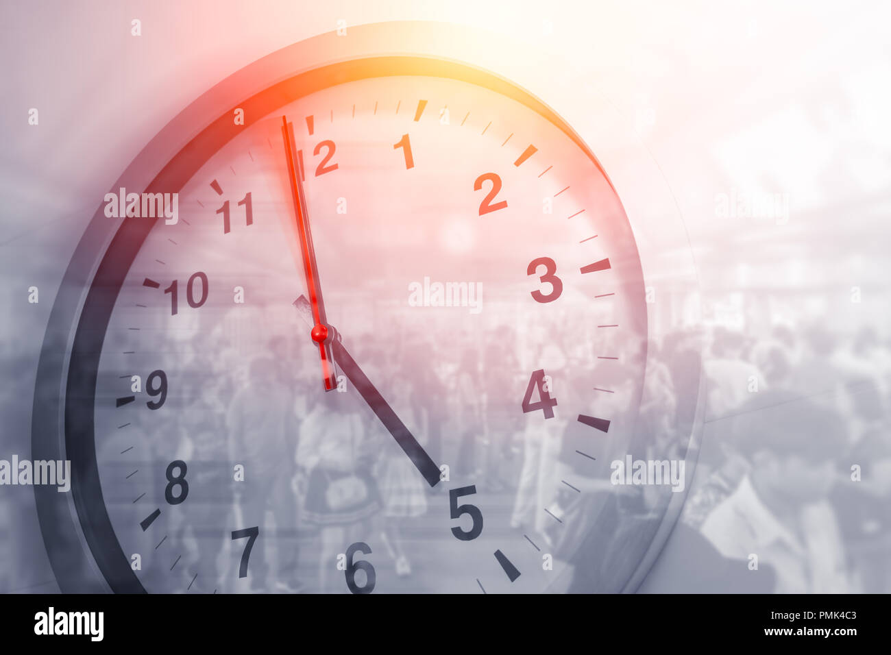 Business times hours concept people crowded walking overlay with time clock Stock Photo