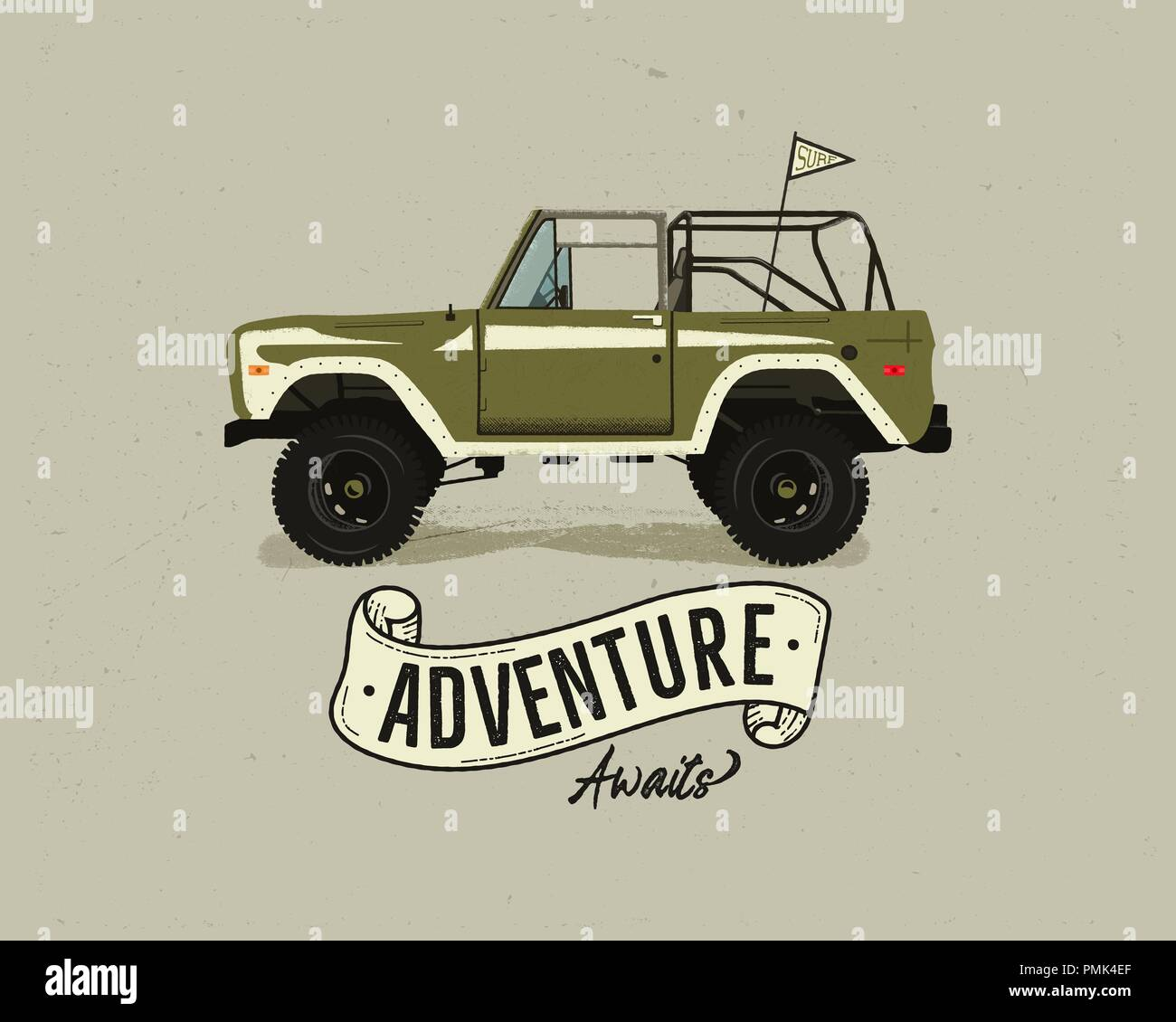 Vintage hand drawn surfing car. Retro transportation with surf pennant. Old style surfers automobile. Perfect for T-Shirt, travel mugs and other outdoor adventure apparel prints. Stock vector Stock Vector