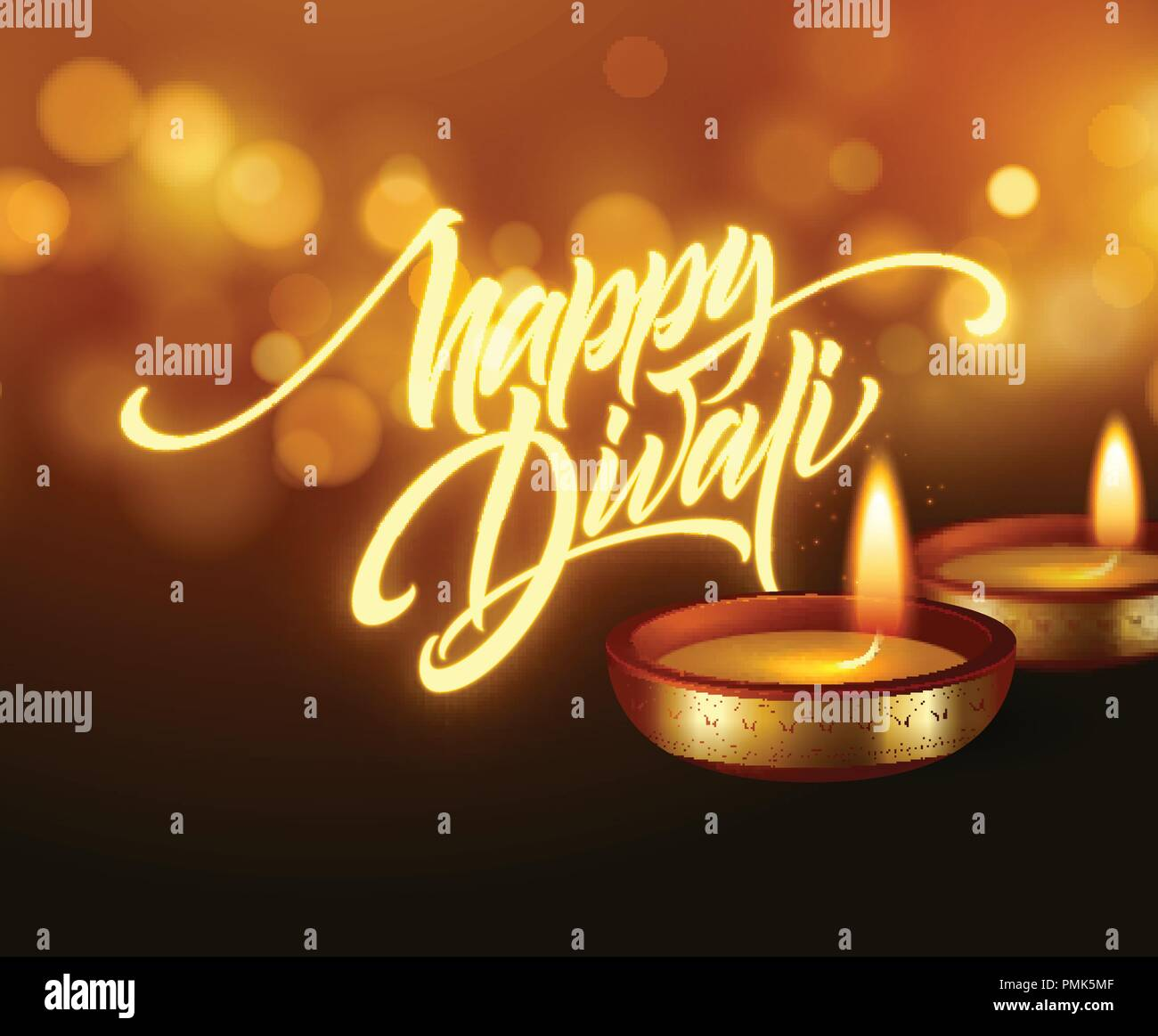 Happy Diwali festival of lights  Retro oil lamp on background night