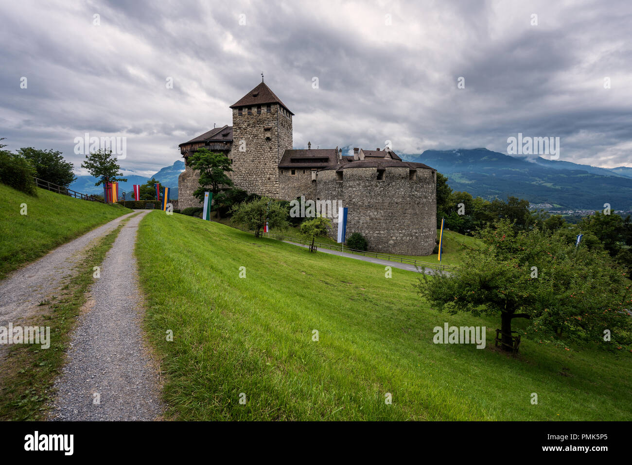 Storm clouds over Liechtenstein, Vaduz Castle. - Stock Image