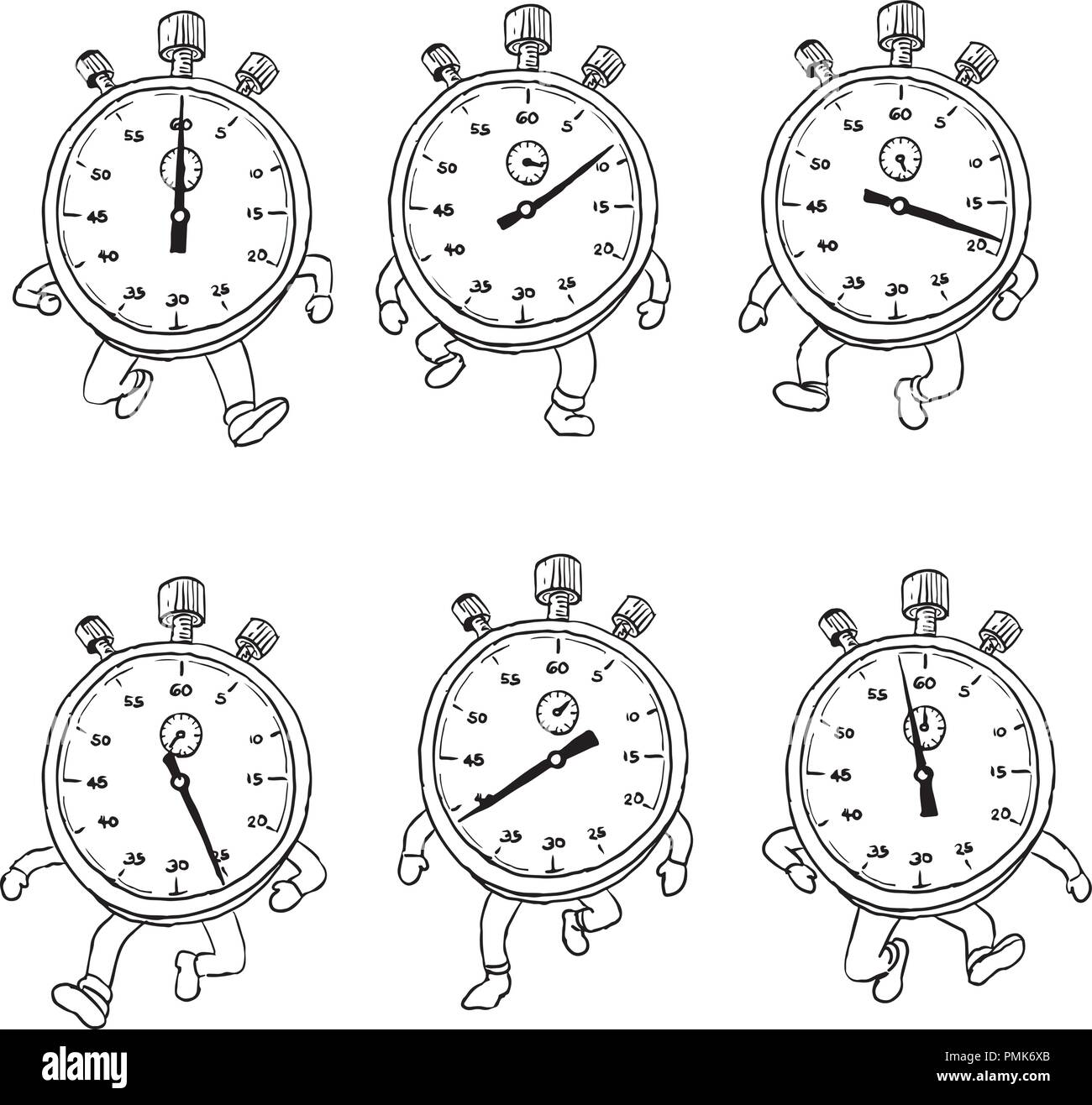 Drawing sketch style illustration of a sequence or run cycle of a stopwatch cartoon character with legs running viewed from front on isolated backgrou - Stock Image