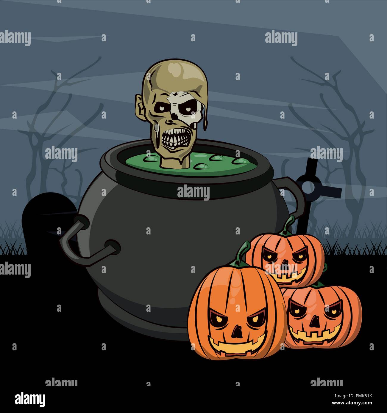 Halloween scary cartoons - Stock Vector