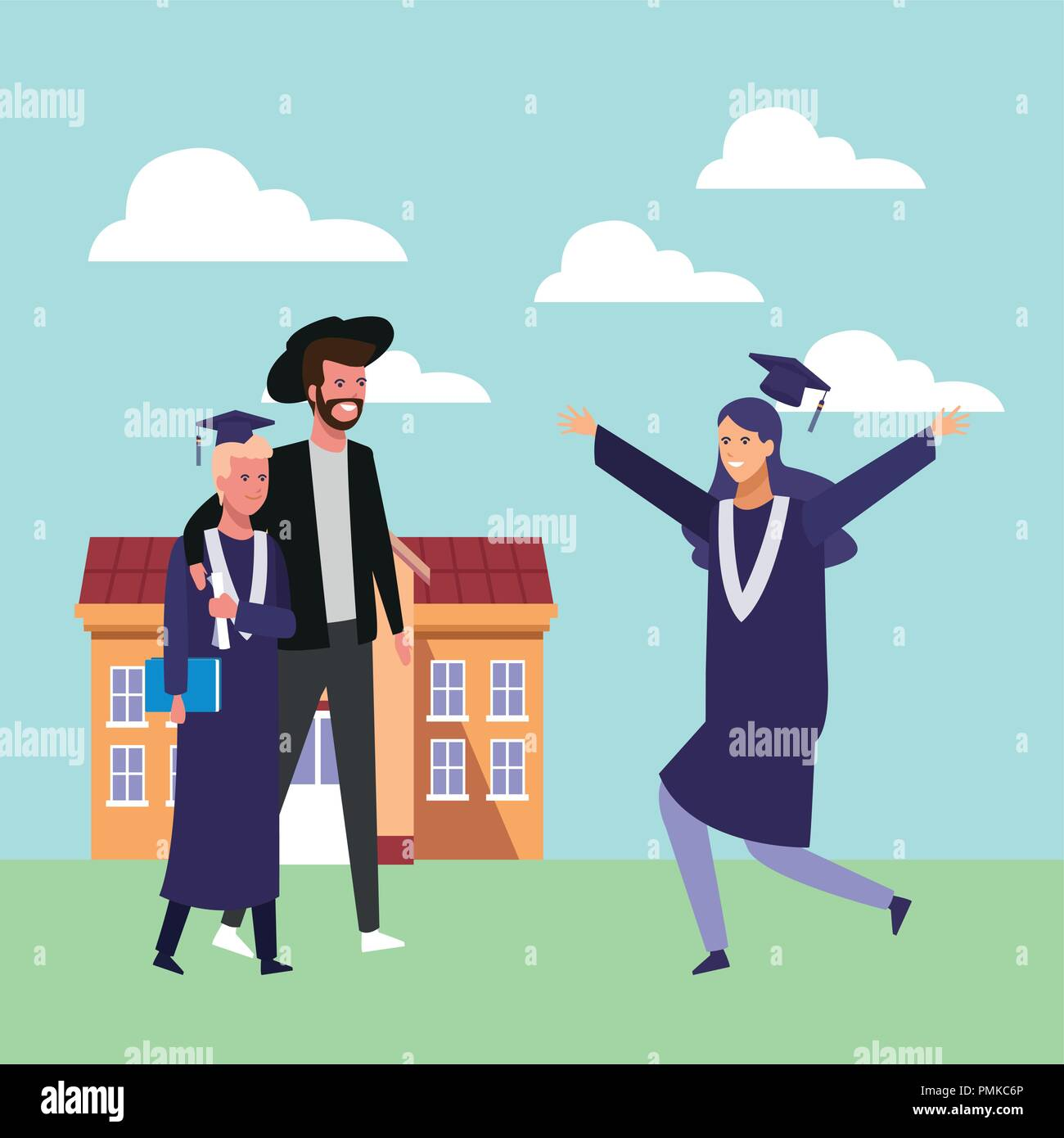 Cartoon Graduate Woman Graduation Gown Stock Photos & Cartoon ...