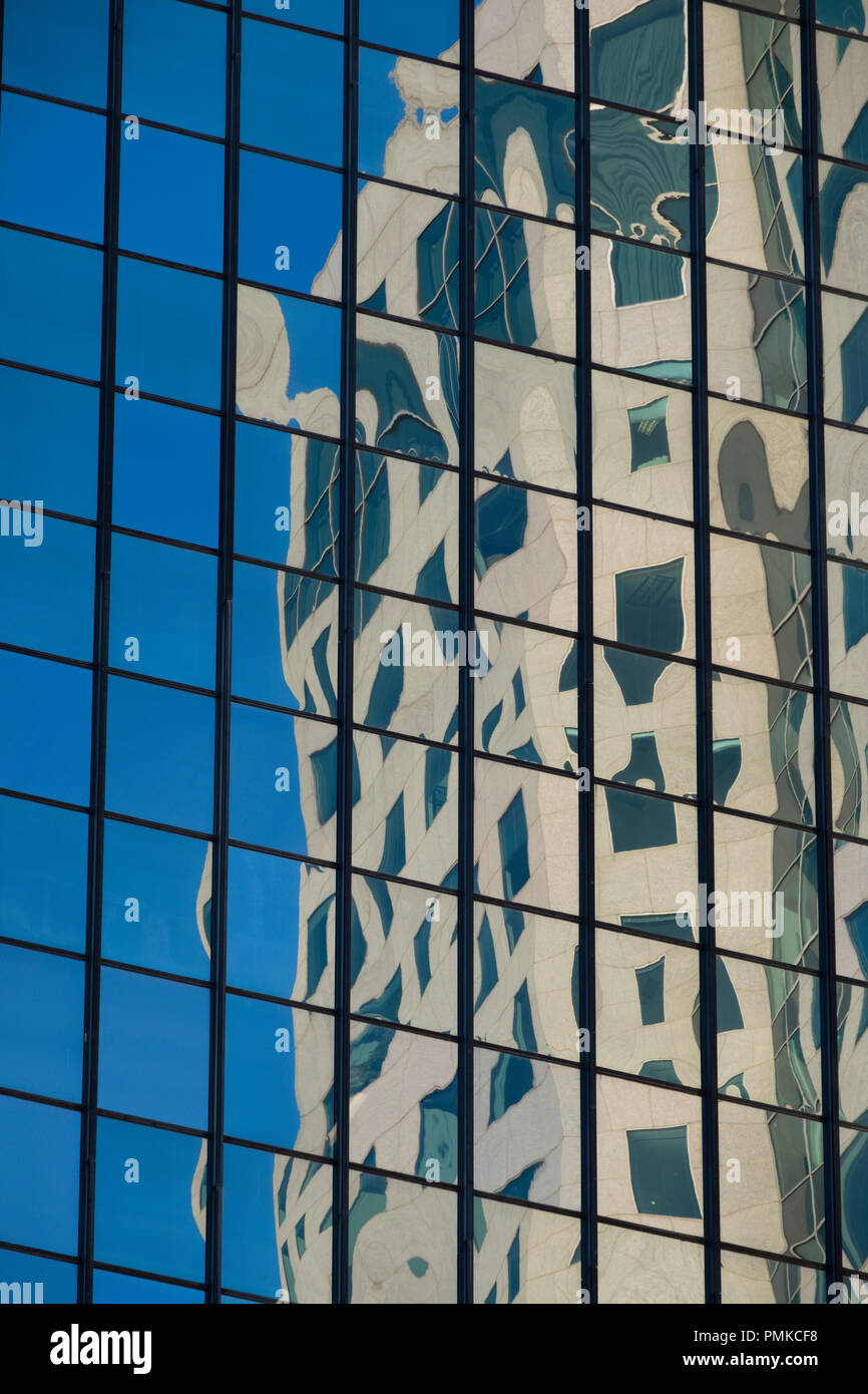 Reflections in Office Buildings, Downtown, Birmingham Alabama - Stock Image