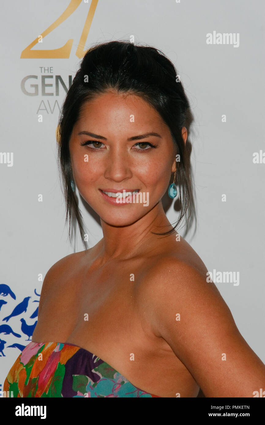 Olivia Munn at the Humane Society of the United States' 25th Annual Genesis Awards. Arrivals held at the Hyatt Regency Century Plaza Hotel in Los Angeles, CA, March 19, 2011.  Photo by Joe Martinez / PictureLux - Stock Image