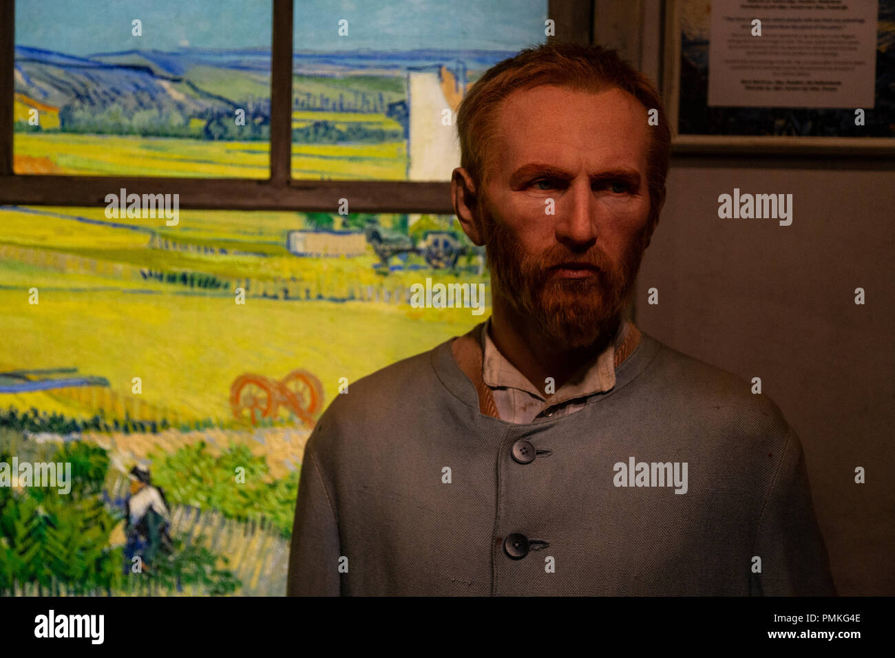 Notorious Dutch painter Vincent Van Gogh wax statue in Madame Tussaud's wax museum, Amsterdam, Netherlands - Stock Image