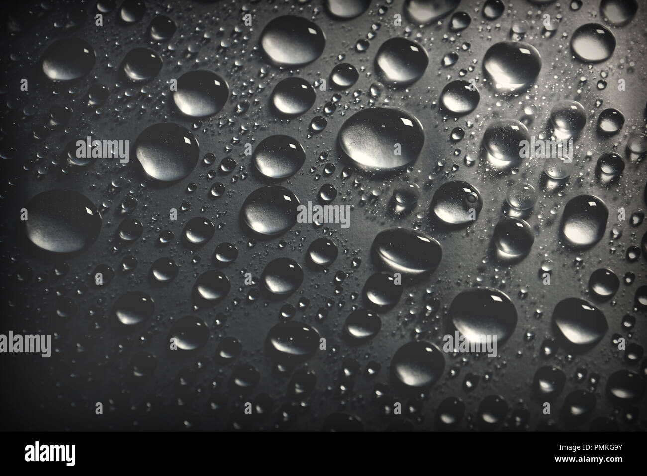 Shiny water drops on black background for designer cover web header page templates