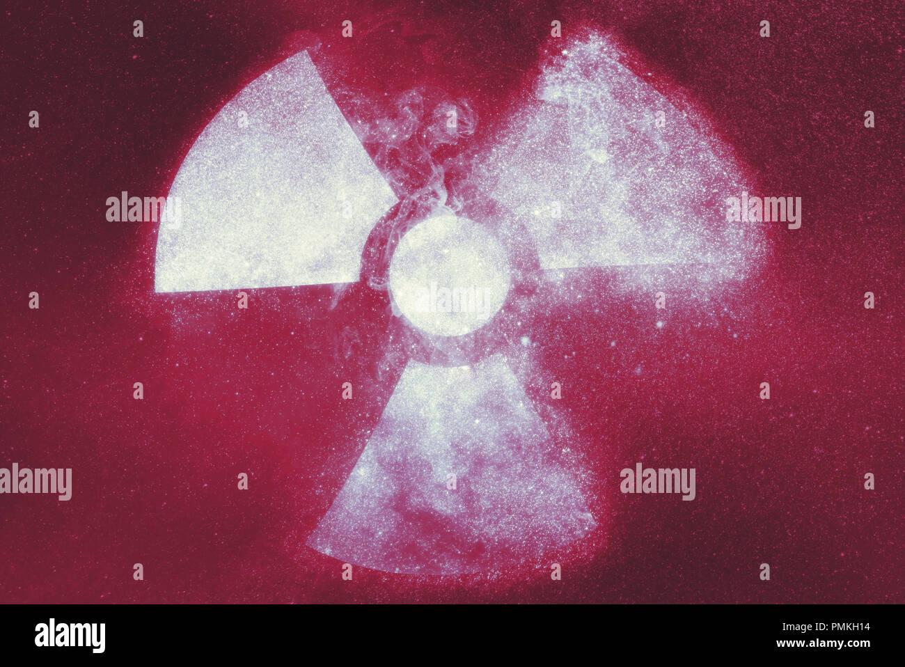 Radiation sign, Radiation symbol. Abstract background Stock Photo