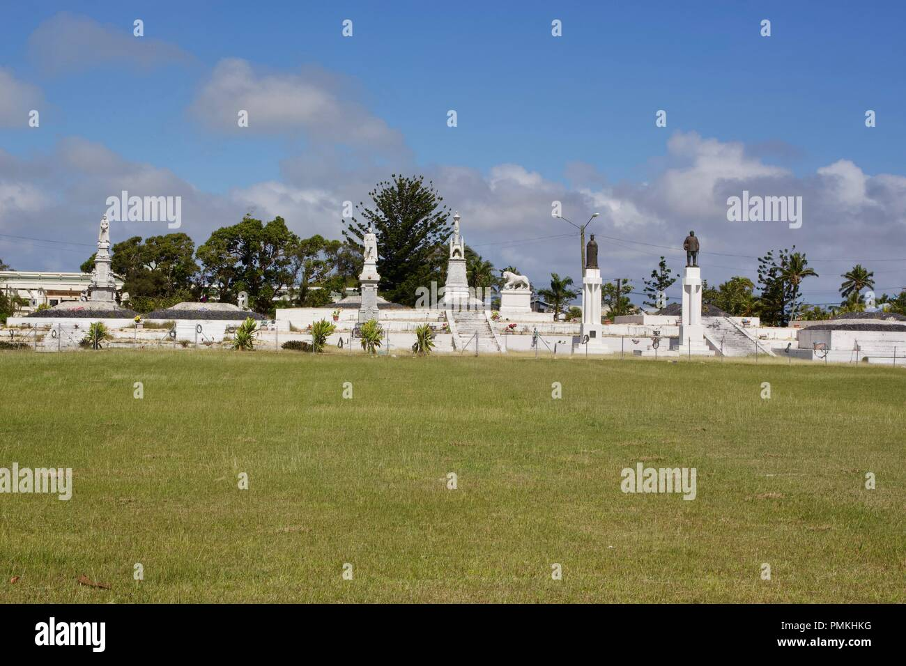 Mala'ekula Royal Tombs is where the Tupou Royal Family are buried in Tongatapu, Kingdom of Tonga. It is off limits for the public - Stock Image