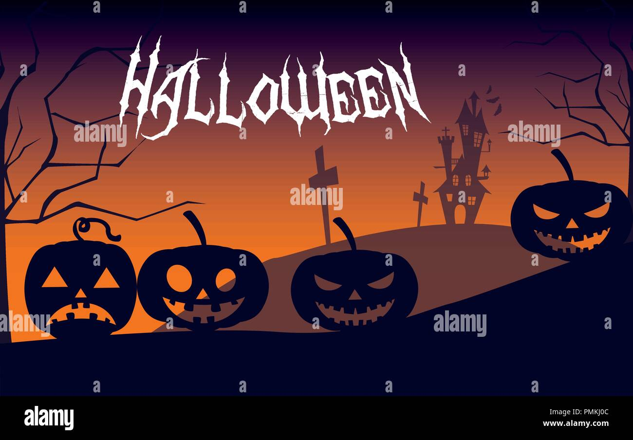 halloween card with haunted castle vector illustration design - Stock Image