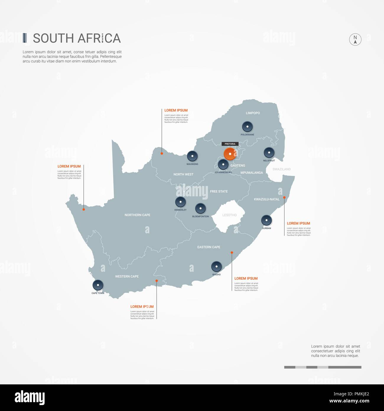 Republic of South Africa map with borders, cities, capital and ...