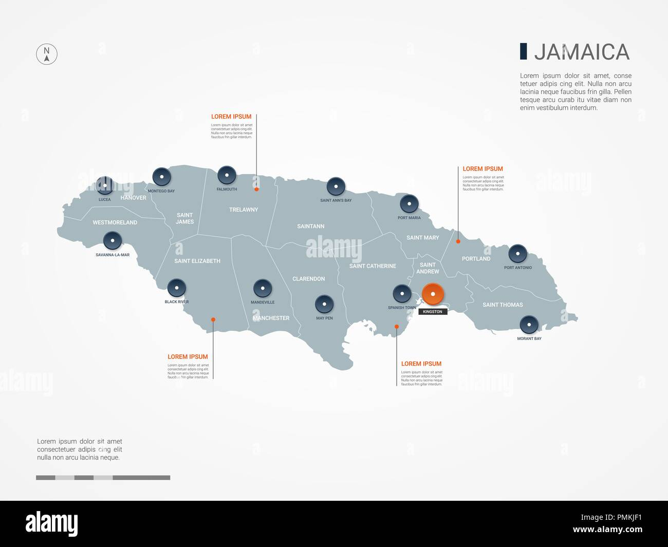 Jamaica map with borders, cities, capital and administrative ...