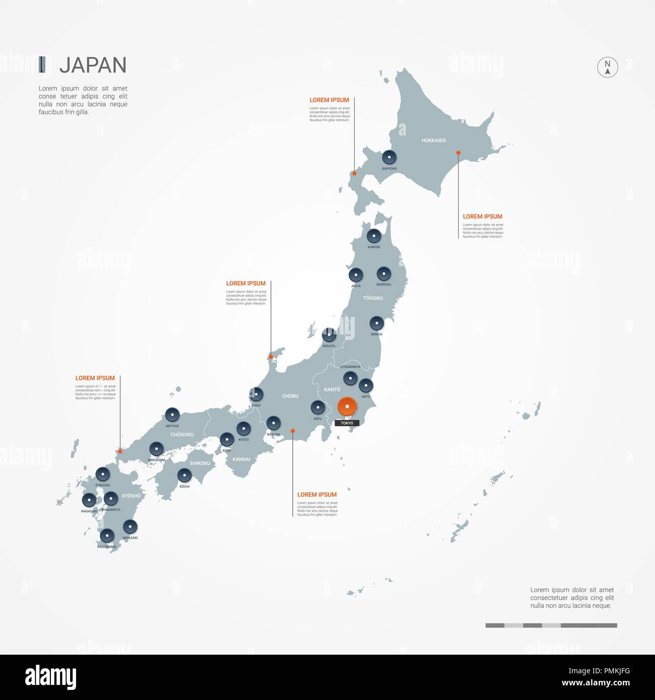 Labled Map Of Japan.Japan Map With Borders Cities Capital And Administrative Divisions