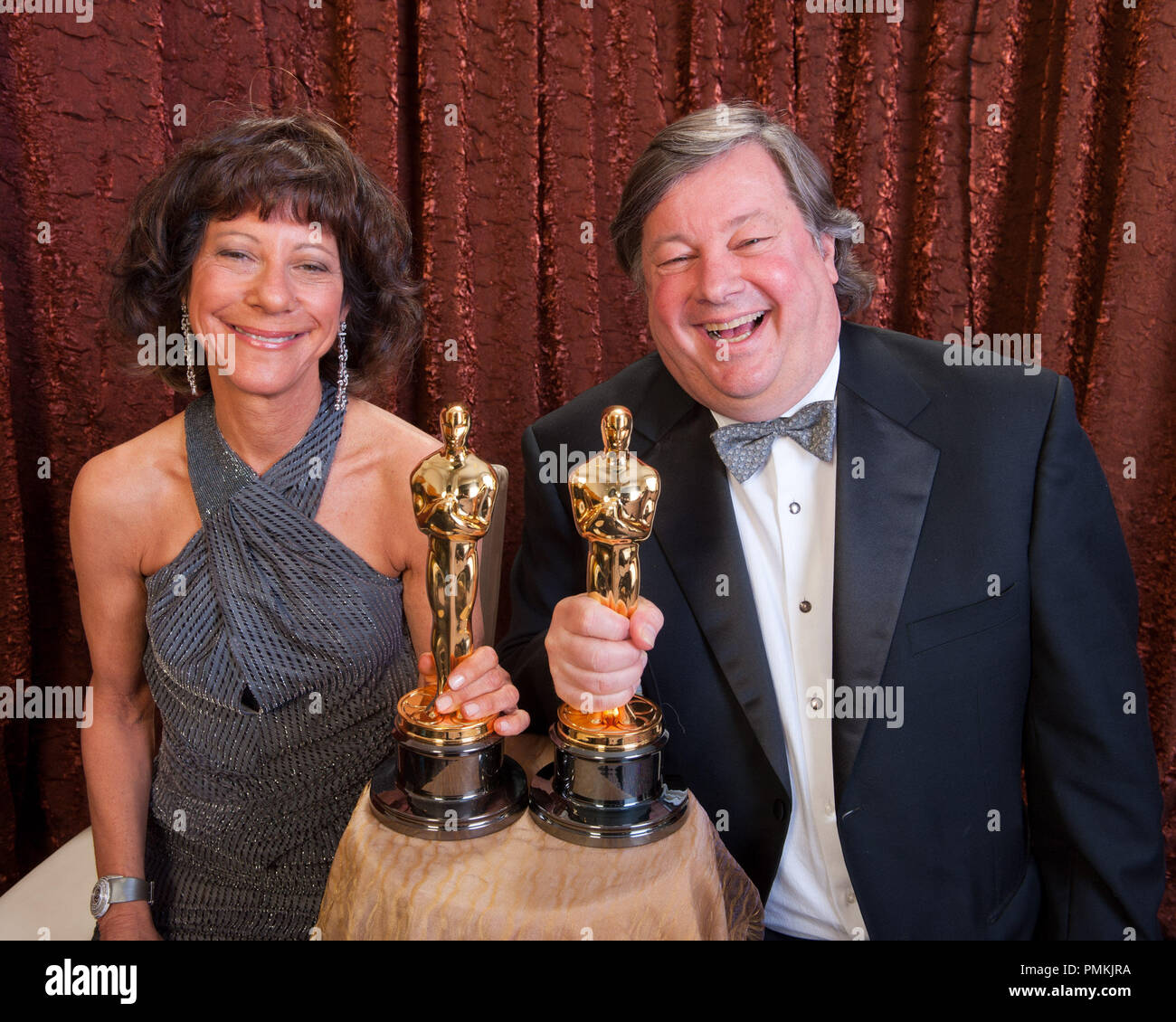 Oscar-winners for the category Best Documentary Short Subject for their work on 'Strangers No More,' Karen Goodman and Kirk Simon pose backstage during the live ABC Television Network broadcast of the 83rd Annual Academy Awards from the Kodak Theatre in Hollywood, CA Sunday, February 27, 2011.  File Reference # 30871_456  For Editorial Use Only -  All Rights Reserved - Stock Image