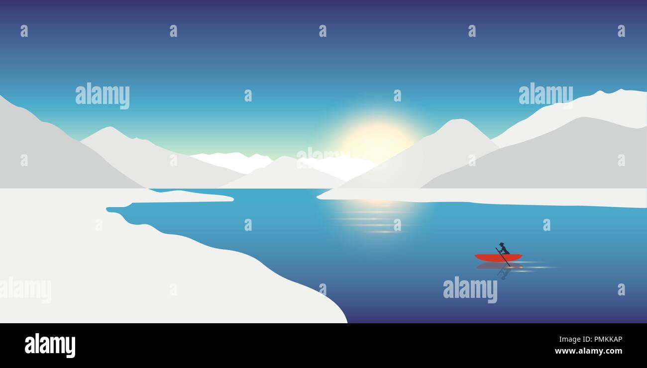 lonely canoeing adventure concept red boat in a winter landscape with snowy mountains vector illustration EPS10 - Stock Vector