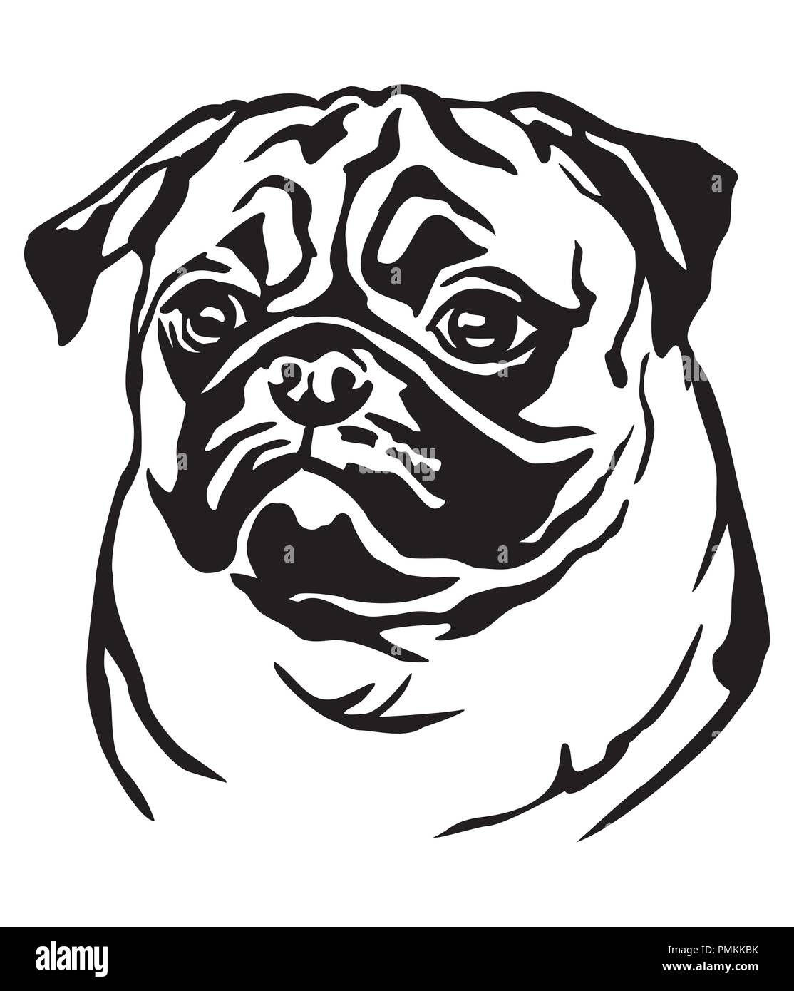 aac99d8e7586 Decorative portrait of dog Pug, vector isolated illustration in black color  on white background -