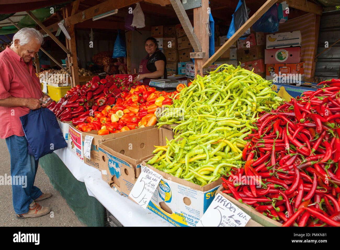 vegetable stall at Obor Market in Bucharest, Romania Stock Photo