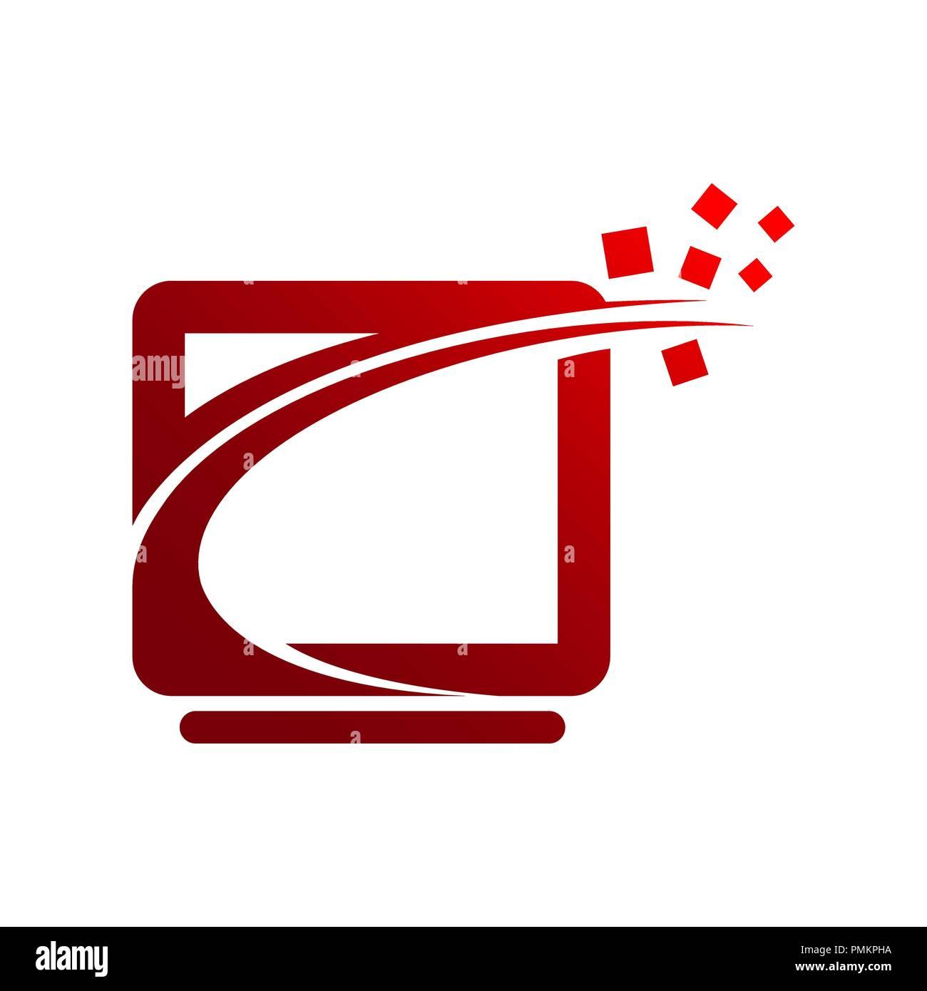 tech logo concept- vector logo concept illustration ...Computer Network Logo