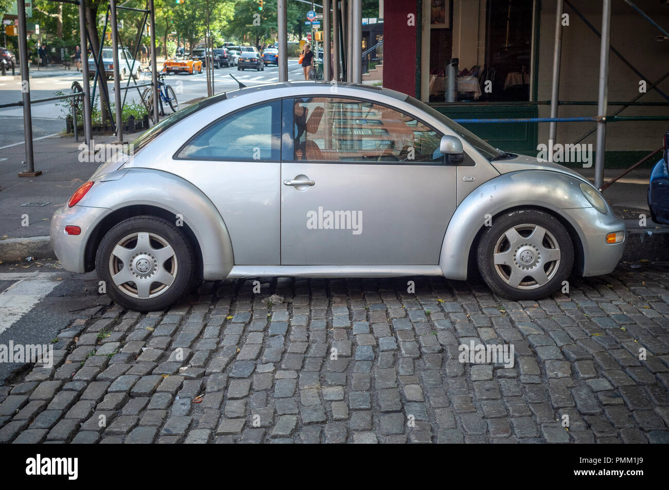 A Volkswagen beetle parked in Greenwich Village in New York on Sunday, September 16, 2018. Citing slumping sales the company will cease production in 2019. (© Richard B. Levine) - Stock Image