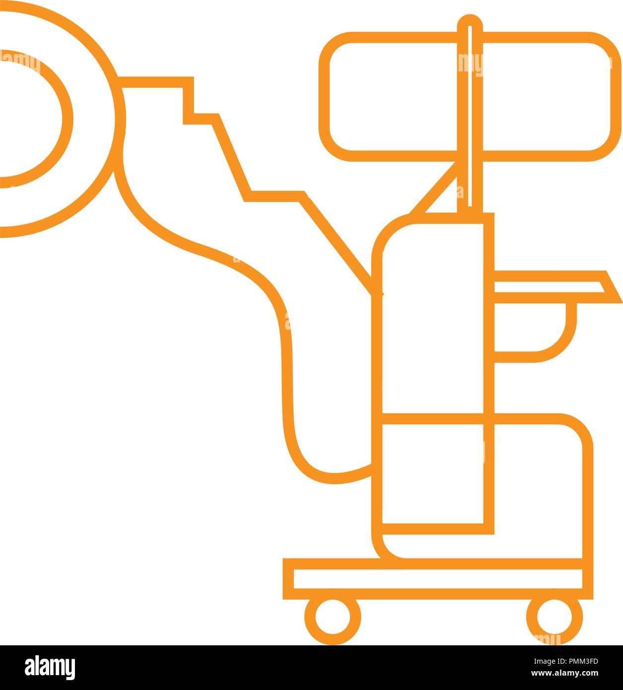 Medical robot icon, robot-assisted surgery - medical devices vector linear icon orange Stock Vector