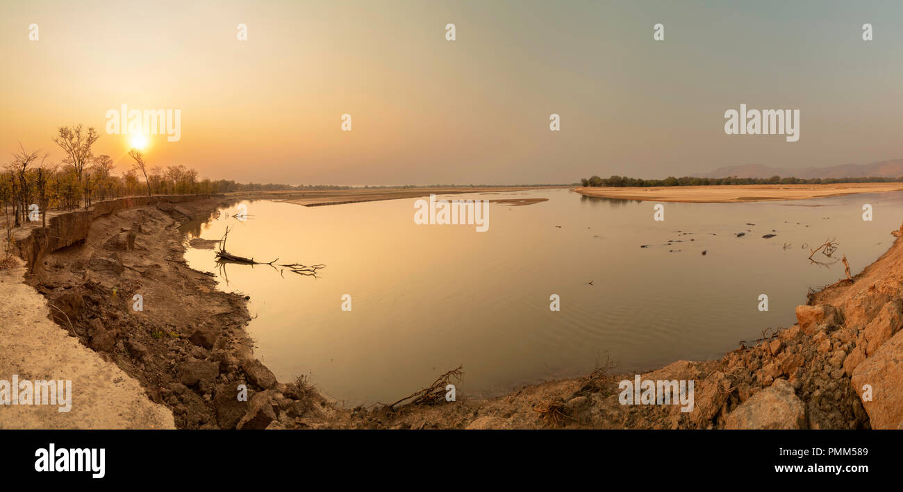 Commposite panorama of sunset over the Luangwa River, South Luangwa, Zambia - Stock Image
