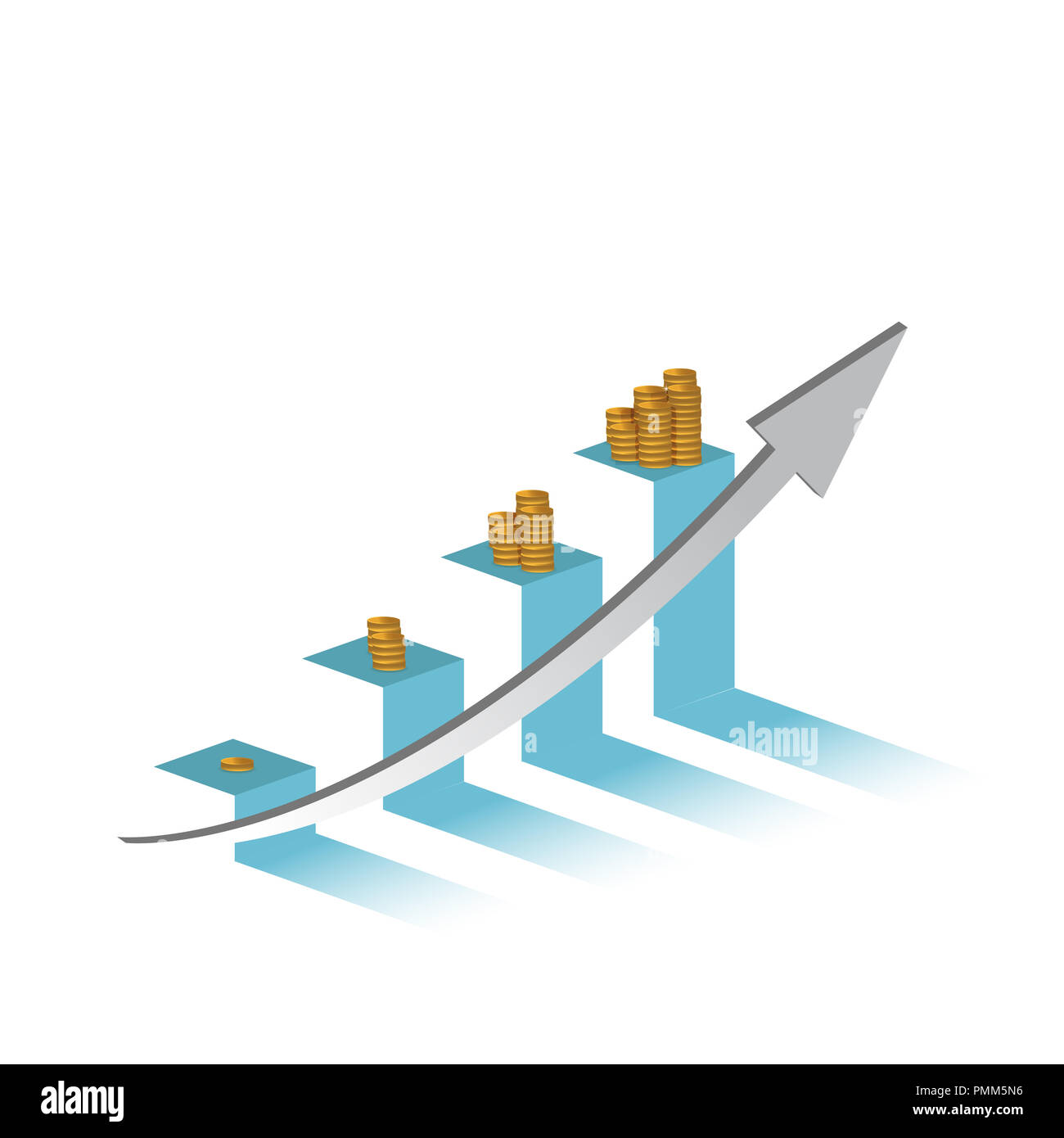 increasing profits on a business graph.financial concept. hitting the target. illustration design graphic isolated over white - Stock Image