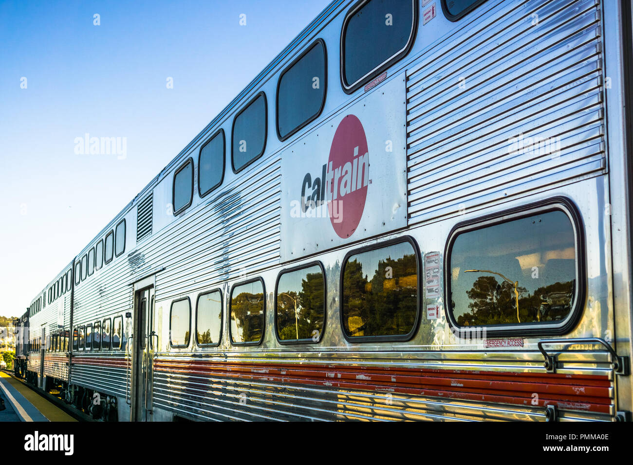 April 20, 2018 Mountain View / CA / USA - Close up of Caltrain car; logo printed on the side - Stock Image
