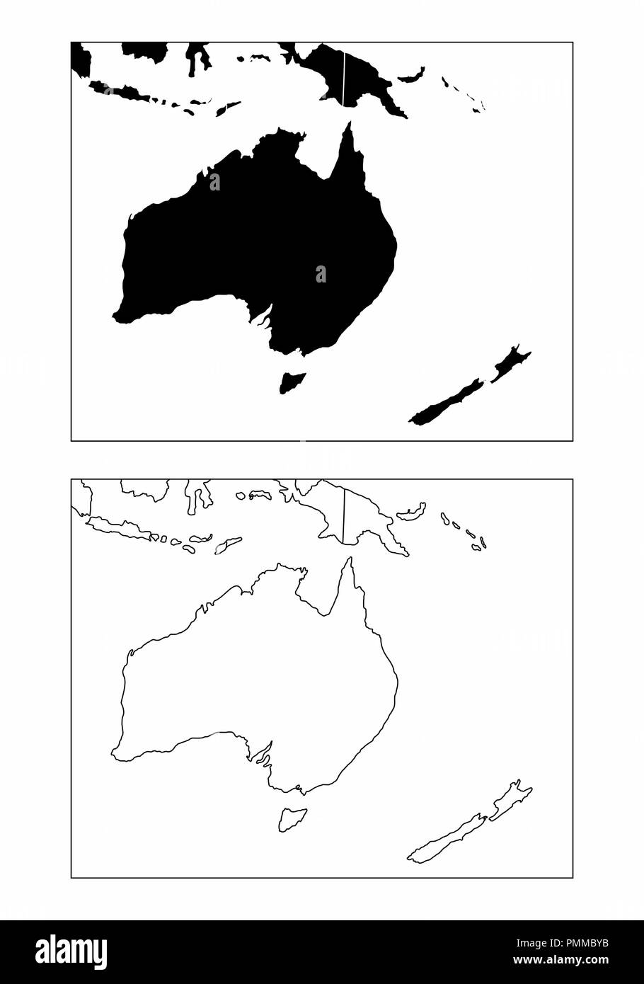 Simplified maps of the Oceania with countries borders. Black and white outlines. - Stock Image