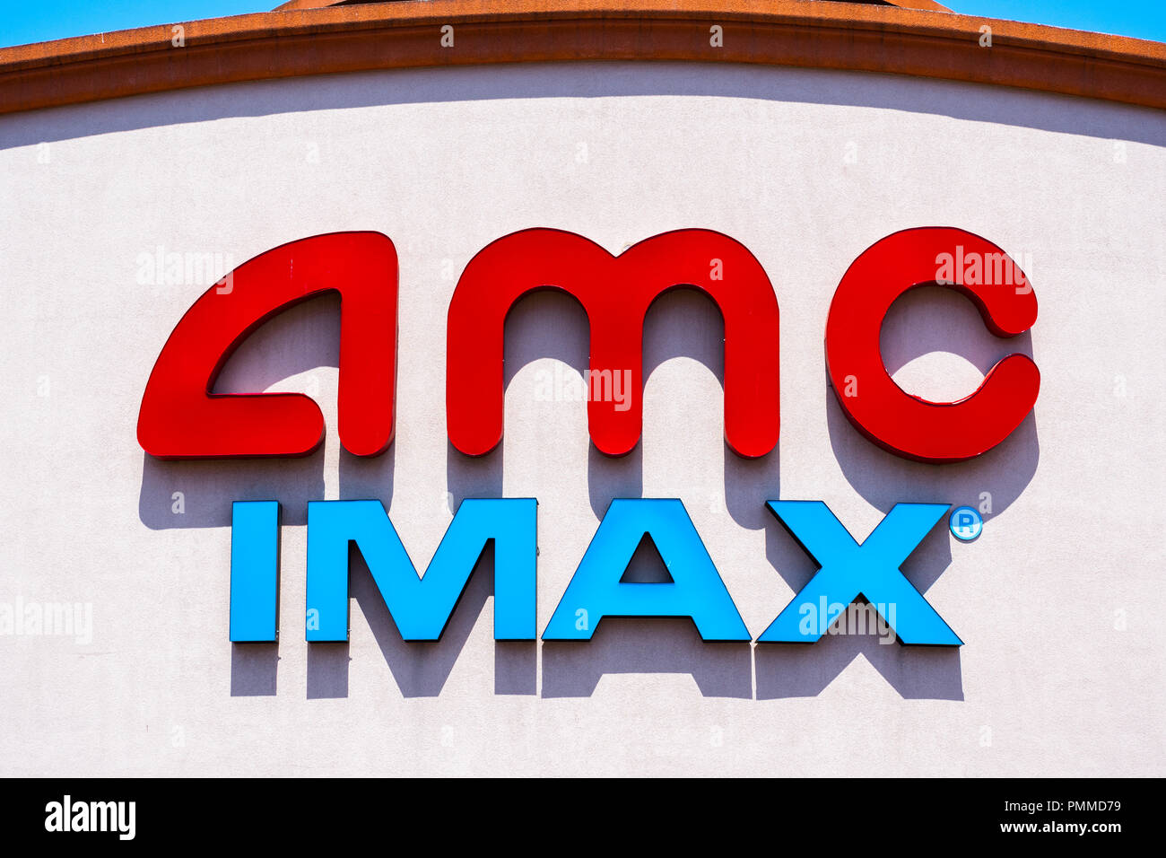 May 3, 2018 Santa Clara / CA / USA - AMC IMAX logo above the entrance and box office - Stock Image