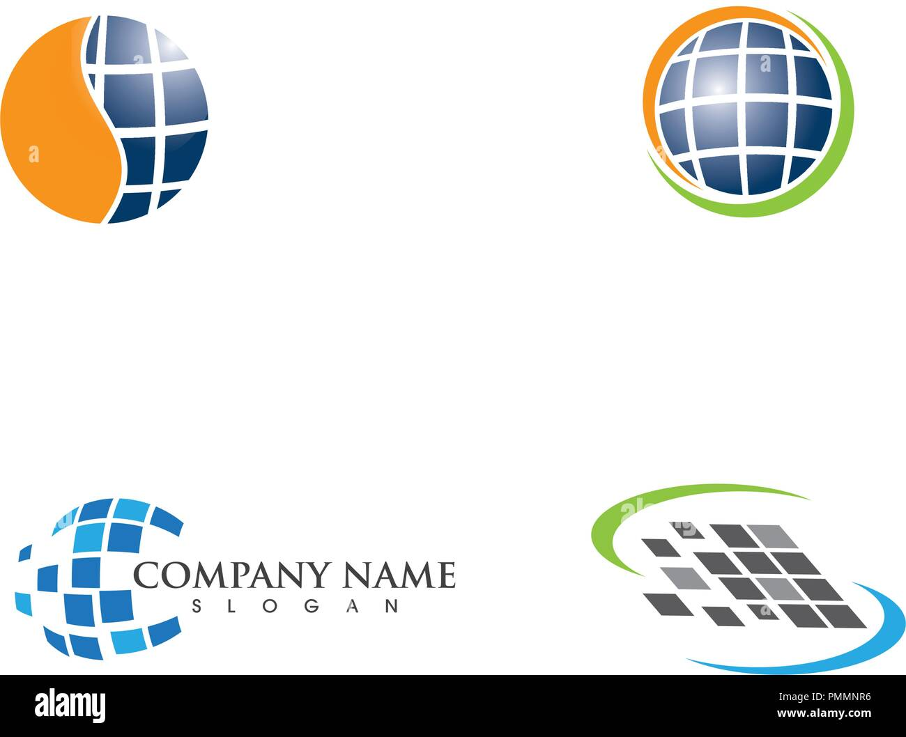 Solar logo energy icon vector design - Stock Image