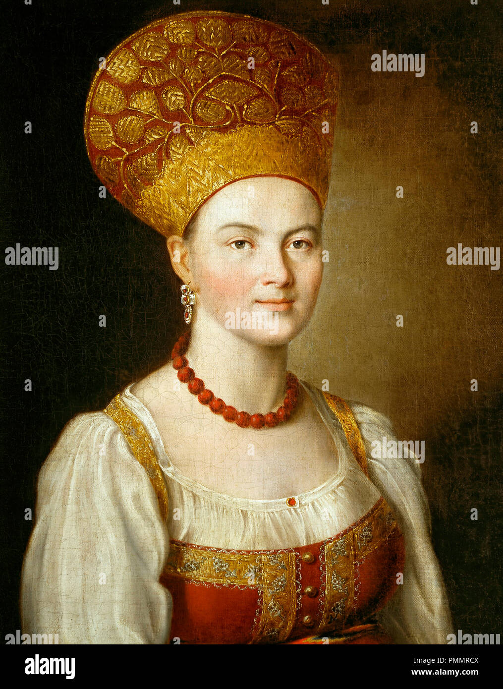Portrait of an Unknown Woman in Russian Costume -  	 Ivan Argunov - 1784 Stock Photo