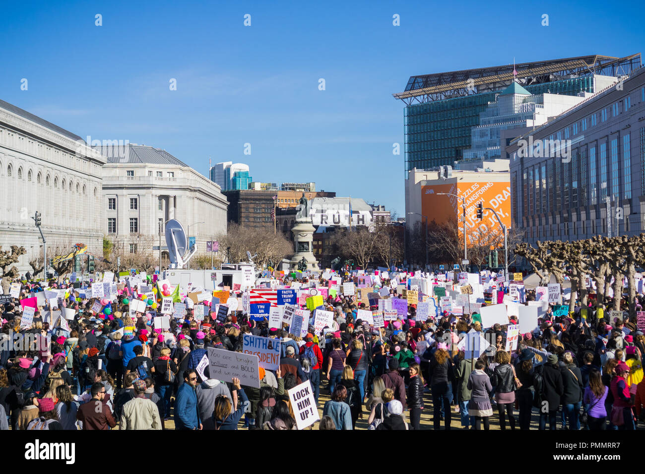 January 20, 2018 San Francisco / CA / USA - Participants at the Women's March leave the rally location and start marching - Stock Image