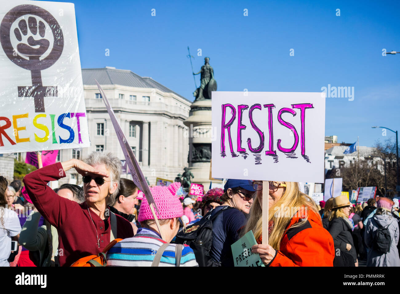 January 20, 2018 San Francisco / CA / USA - Resist signs carried at the Women's March - Stock Image