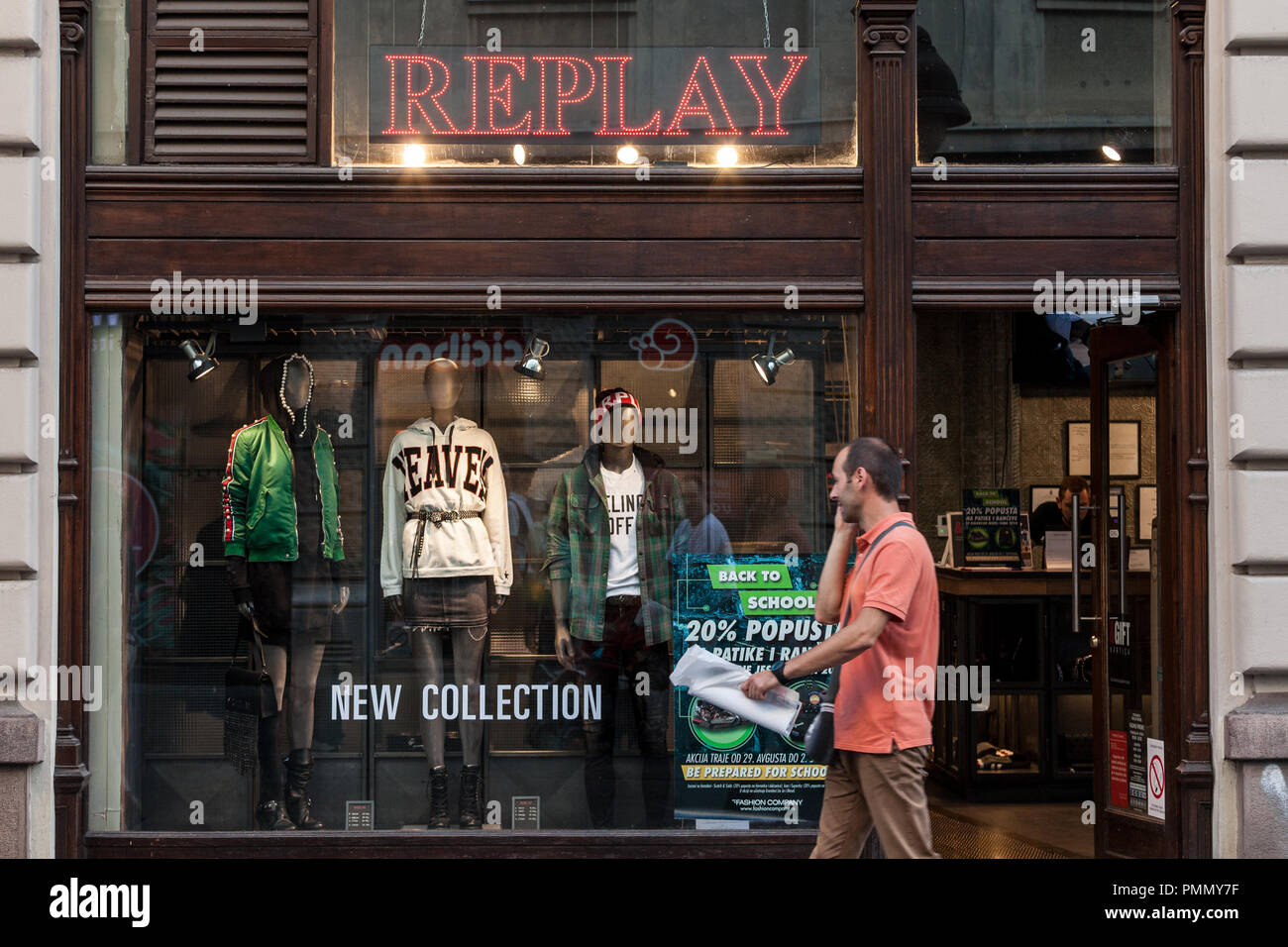 BELGRADE, SERBIA - SEPTEMBER 2, 2018:  Replay Jeans logo in front of their main store in Belgrade. Replay Jeans, part of the Italian group Fashion box - Stock Image