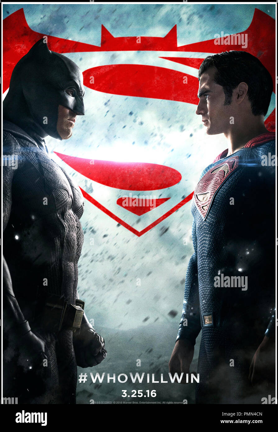 Prod DB © Warner Bros. - DC Entertainment - RatPac-Dune Entertainment - Syncopy / DR BATMAN V SUPERMAN: L'AUBE DE LA JUSTICE (BATMAN VS. SUPERMAN: DAWN OF JUSTICE) de Zack Snyder 2016 USA teaser americain super heros d'apres les personnages créés par Bob Kane et Bill Finger (Batman) et Jerry Siegel et Joe Shuster (Superman) - Stock Image