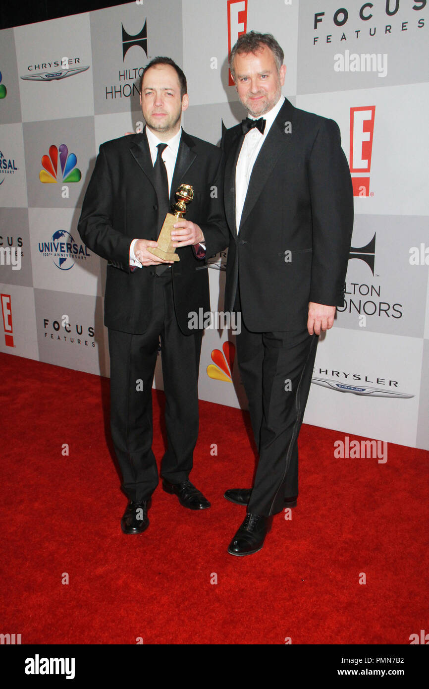 Gareth Neame; Hugh Bonneville 01/15/2012 Golden Globe NBC After Party 2012 held at Beverly Hilton Hotel  in Beverly Hills, CA. Photo by Manae Nishiyama / HollywoodNewsWire.net/ PictureLuxt - Stock Image