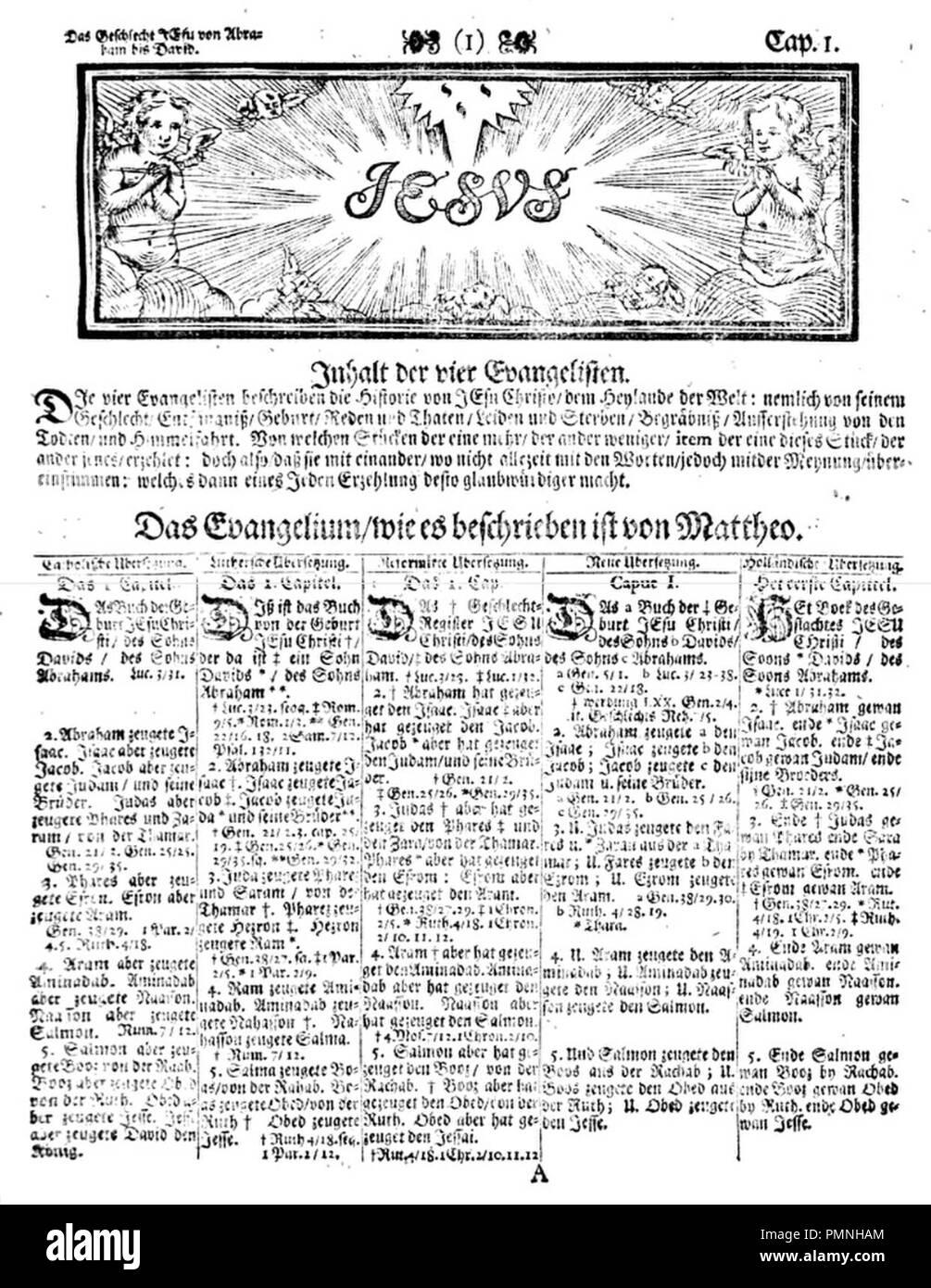 Biblia pentapla (1711), Matthäus 1. Stock Photo