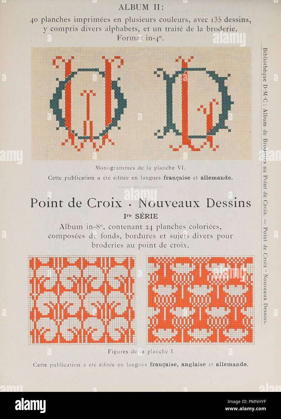 Bibliothèque Dmc 03 Album De Broderies Au Point De Croix Ii Nouveaux Dessins I Stock Photo Alamy