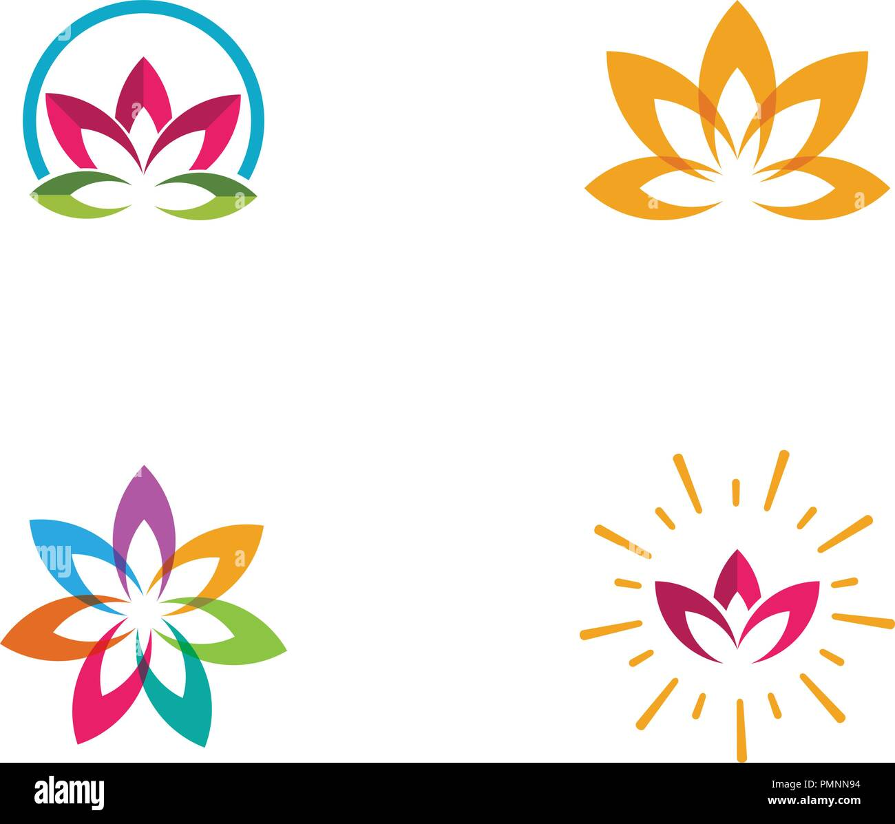 beauty vector lotus flowers design logo template icon stock vector