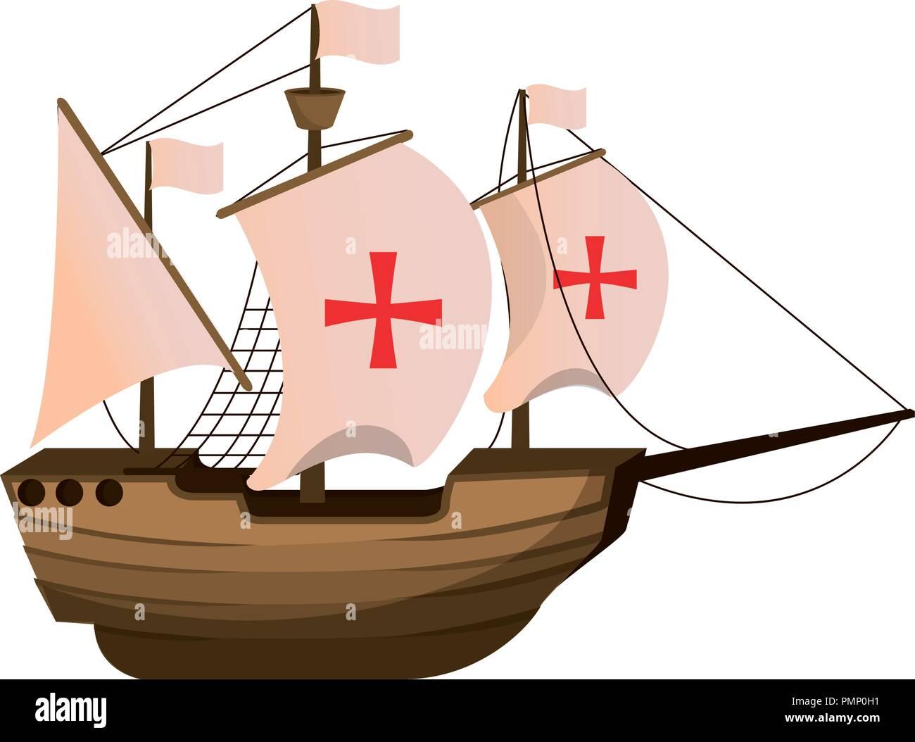 wood ship transport navigation explore Stock Vector