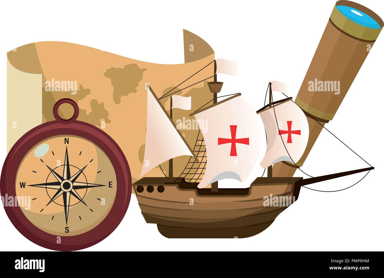 ship transport with navigate things discovery - Stock Image