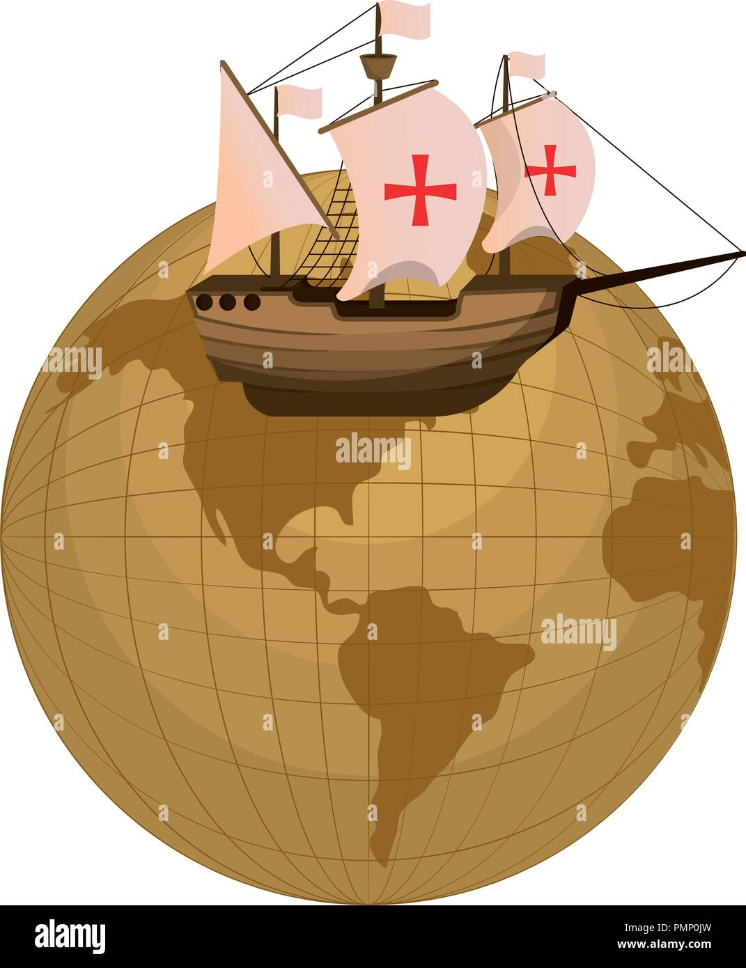 global planet and ship navigation transport Stock Vector