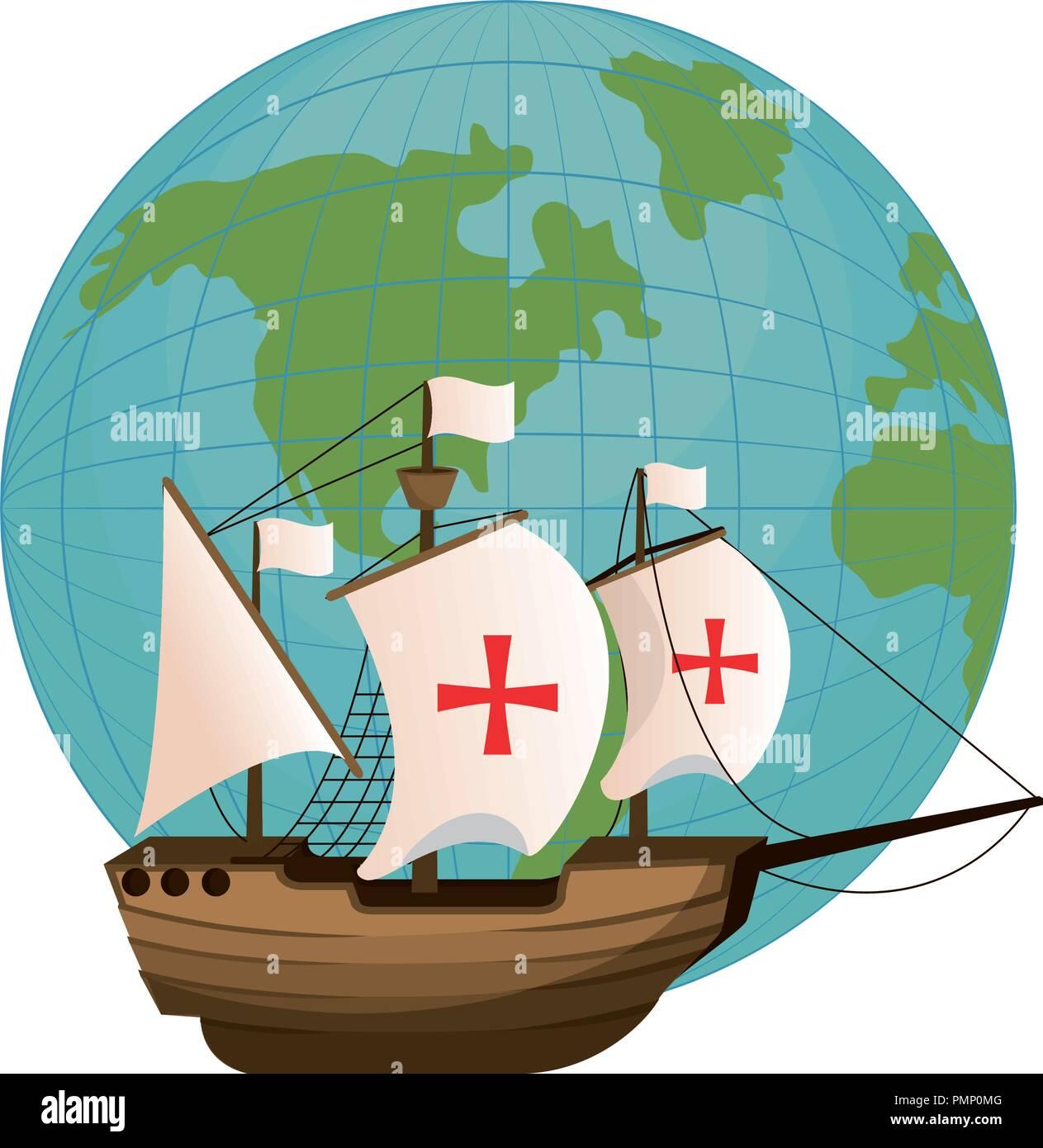 global planet and wood ship navigation - Stock Image