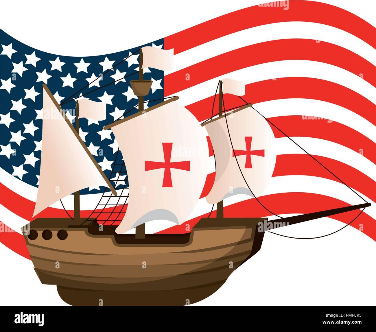 usa flag and ship navigation transport - Stock Image