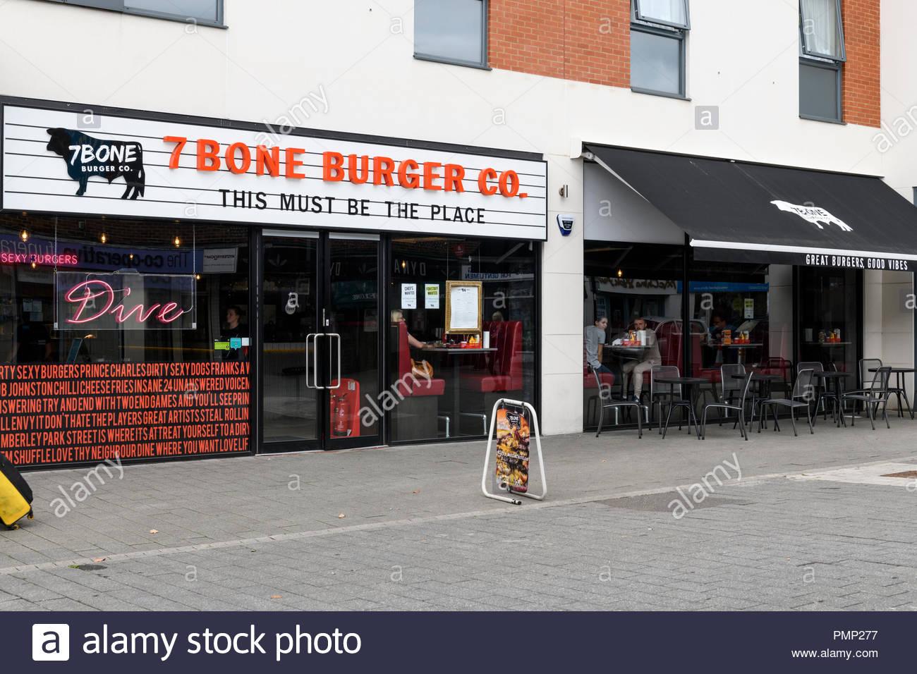 7 Bone Burger Co, Park Street, Camberley, Surrey, England, UK - Stock Image