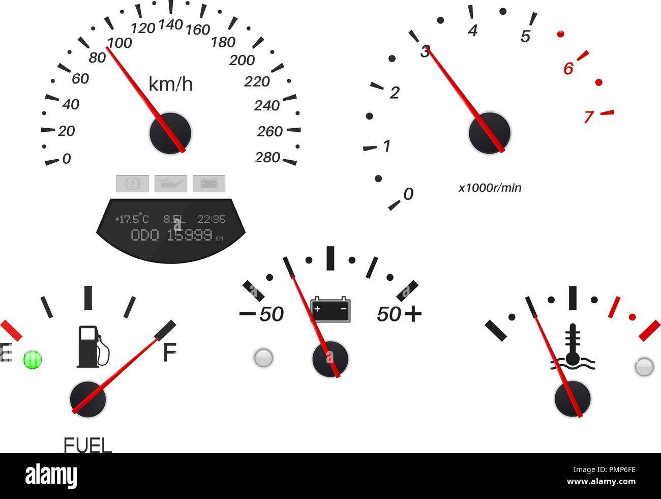 Car dashboard scales. Fuel gauge, speedometer, tachometer, temperature indicator - Stock Image