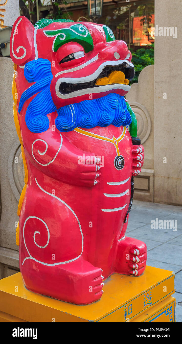Pink Chinese lion or foo dog, Bixie, Pixiu decorations for the Mooncake festival in Xiamen China - Stock Image