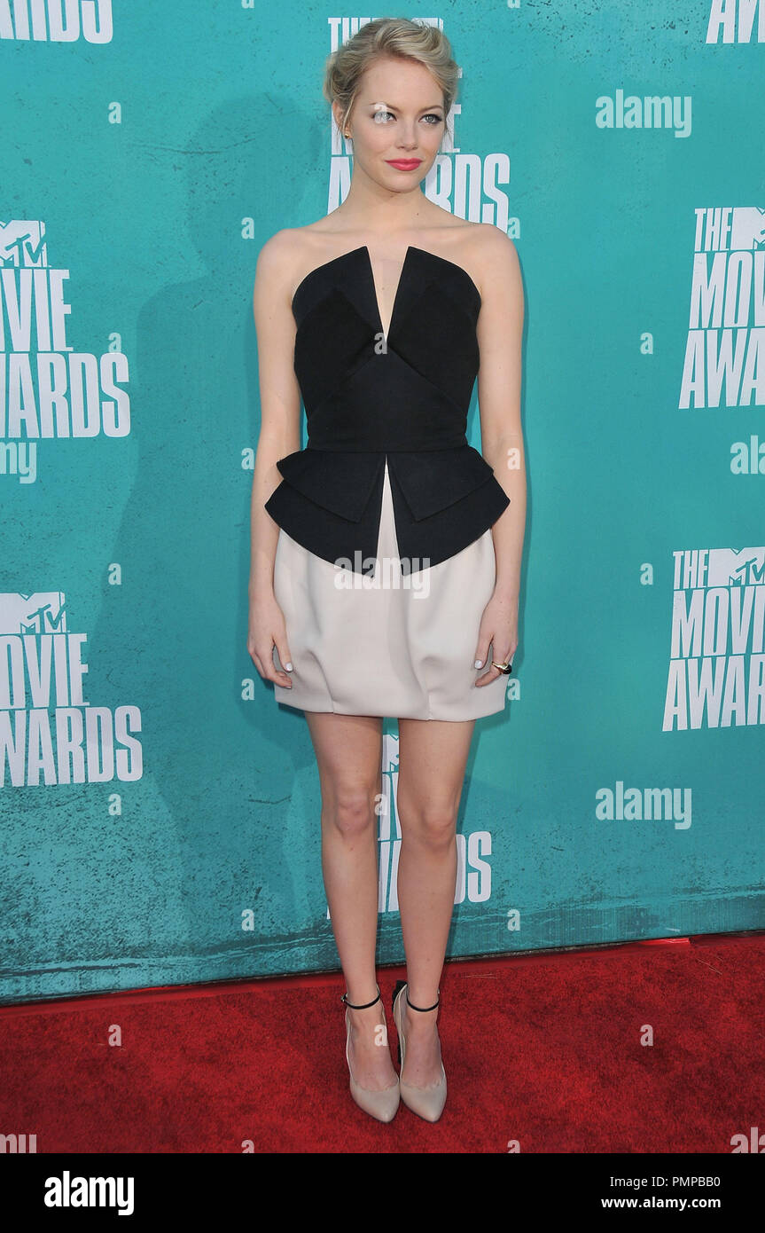 Emma Stone at 2012 MTV Movie Awards held at the Gibson Amphitheatre in Universal City, CA. The event took place on Sunday, June 3, 2012. Photo by PRPP/ PictureLux - Stock Image