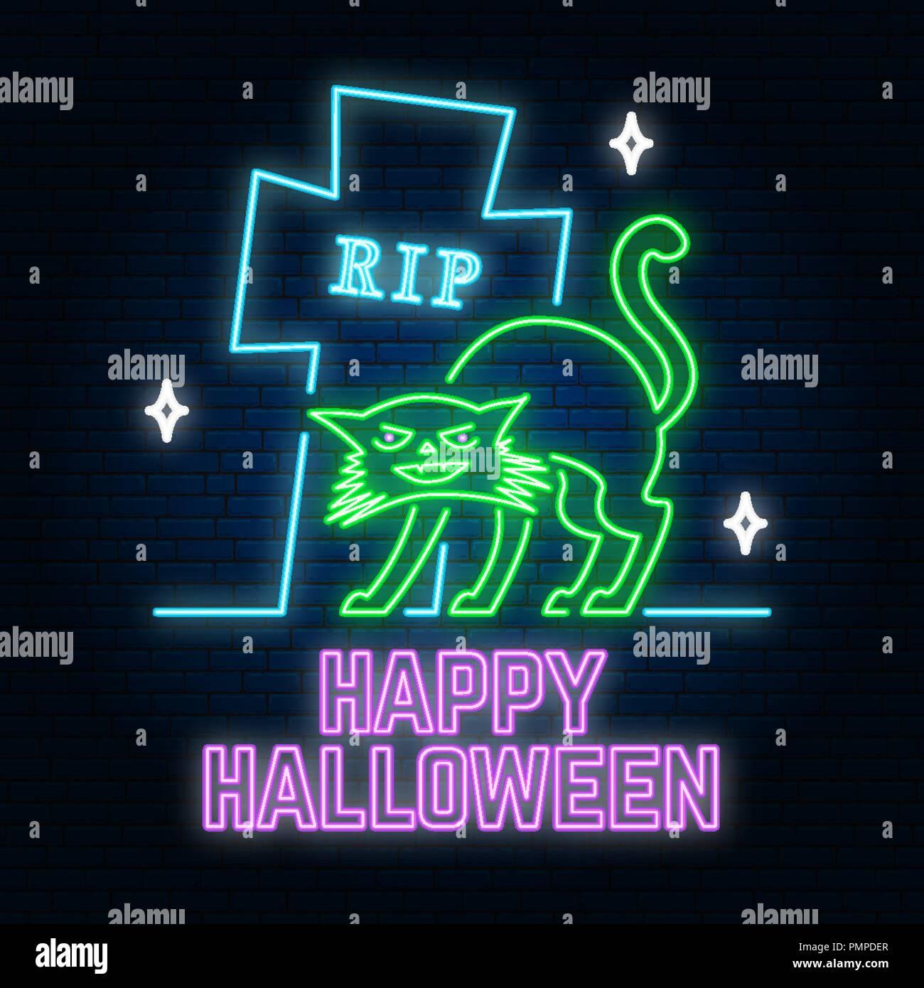 halloween neon sign or emblem vector illustration happy halloween
